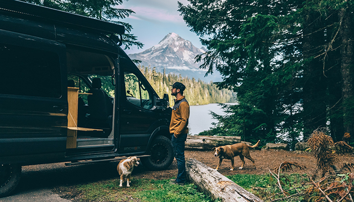Man in front of scenic Mt. Hood mountainscape.